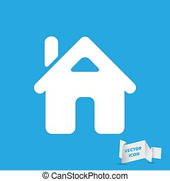 flat home icon on the blue background