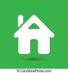 flat home icon on the green background