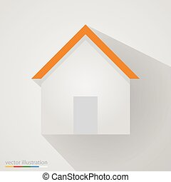 Flat home sign on white background with shadow