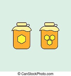 flat honey jar icons on blue background