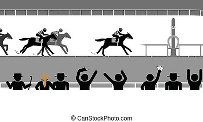 Flat horse racing in front of a crowd of spectators