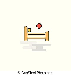 Flat Hospital bed Icon. Vector