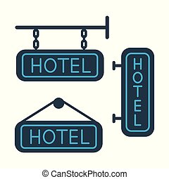 hotel signboard icons set on white background