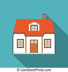 Flat House Icon with Long Shadow Vector Illustration