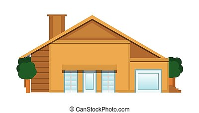Flat House Illustration Isolated on White