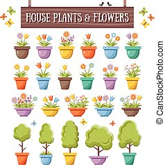 Flat house plants,flowers,trees set