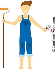 Flat house remodel. Vector illustration. Young man making repairs.
