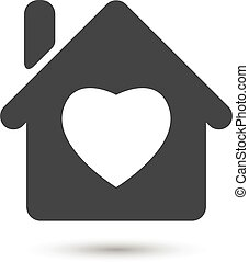 flat house with heart icon on white background