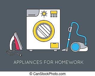 Flat household appliances background concept. Vector illustration design