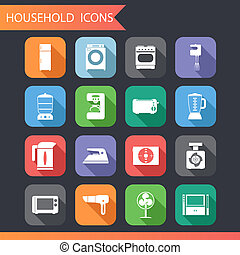 Flat Household Icons and Symbols Set Vector Illustration