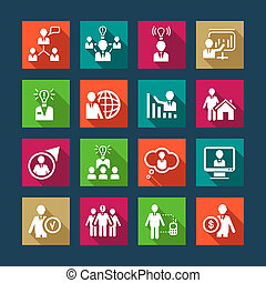 Human Resources Flat Icon Set for web and mobile. All elements are grouped.