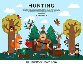 Flat Hunting Concept - Flat hunting concept with hunter...