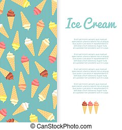 Flat ice cream banner design