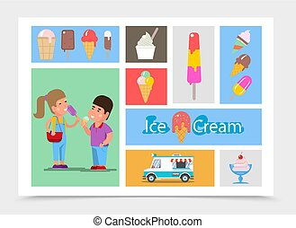 Flat ice cream composition with different kinds of ice cream children eating sweet frozen product and icecream truck vector illustration