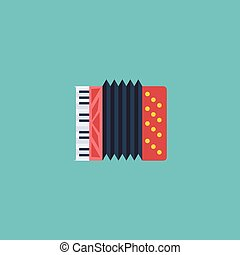 Flat Icon Accordion Element. Vector Illustration Of Flat Icon Harmonica Isolated On Clean Background. Can Be Used As Accordion, Harmonica And Instrument Symbols.