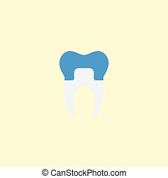Flat Icon Alumina Element. Vector Illustration Of Flat Icon Dental Crown Isolated On Clean Background. Can Be Used As Dental, Crown And Alumina Symbols.