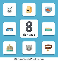 Flat Icon Animal Set Of Feeding, Nutrition Box, Bird Prison And Other Vector Objects. Also Includes Food, Box, Cat Elements.