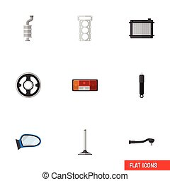 Flat Icon Auto Set Of Headlight, Heater, Belt And Other...