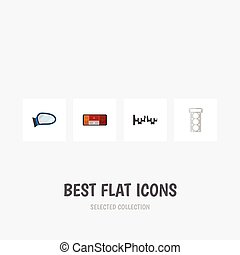 Flat Icon Auto Set Of Headlight, Packing, Auto Component And...