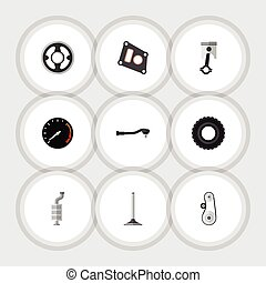 Flat Icon Auto Set Of Input Technology, Silencer, Tachometr And Other Vector Objects. Also Includes Silencer, Drive, Muffler Elements.