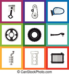 Flat Icon Auto Set Of Packing, Wheel, Auto Component And...