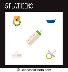 Flat Icon Baby Set Of Tissue, Feeder, And Other Vector Objects. Also Includes Bear, Bathtub, Box Elements.