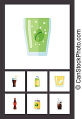Flat Icon Beverage Set Of Beverage, Cup, Carbonated And Other Vector Objects. Also Includes Fizzy, Soda, Cola Elements.