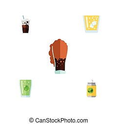 Flat Icon Beverage Set Of Carbonated, Cup, Beverage And Other Vector Objects. Also Includes Fizzy, Soda, Lemonade Elements.