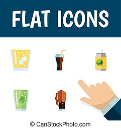 Flat Icon Beverage Set Of Fizzy Drink, Cup, Soda And Other Vector Objects. Also Includes Fizzy, Cup, Drink Elements.