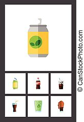 Flat Icon Beverage Set Of Fizzy Drink, Drink, Cup And Other Vector Objects. Also Includes Fizzy, Lemonade, Carbonated Elements.