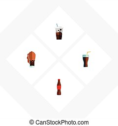 Flat Icon Beverage Set Of Fizzy Drink, Juice, Carbonated And Other Vector Objects. Also Includes Juice, Soda, Cup Elements.