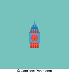 Flat Icon Big Ben Element. Vector Illustration Of Flat Icon London Isolated On Clean Background. Can Be Used As Big, Ben And London Symbols.