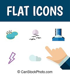 Flat Icon Bio Set Of Pond, Overcast, Cascade And Other Vector Objects. Also Includes Overcast, River, Thunder Elements.