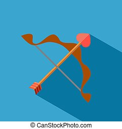 flat icon bow and arrow Cupid