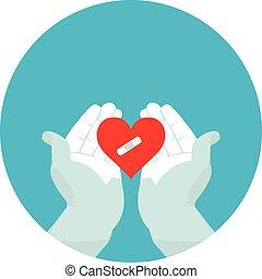 flat icon broken heart