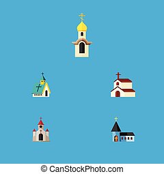 Flat Icon Building Set Of Christian, Traditional, Architecture And Other Vector Objects. Also Includes Faith, Religious, Catholic Elements.