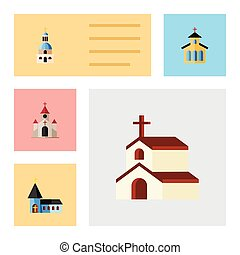 Flat Icon Building Set Of Christian, Traditional, Church And Other Vector Objects. Also Includes Church, Christian, Faith Elements.