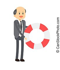businessman with life preserver icon