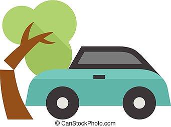 Flat icon - Car crash