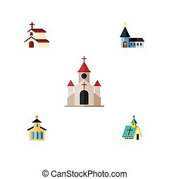 Flat Icon Church Set Of Christian, Catholic, Religion And Other Vector Objects. Also Includes Christian, Religion, Religious Elements.