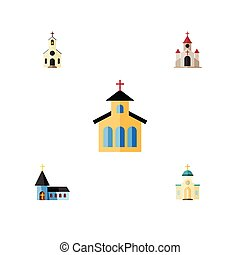 Flat Icon Church Set Of Traditional, Catholic, Building And Other Vector Objects. Also Includes Architecture, Structure, Building Elements.