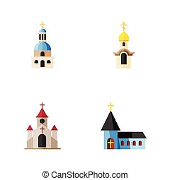 Flat Icon Church Set Of Traditional, Church, Christian And Other Vector Objects. Also Includes Structure, Christian, Traditional Elements.