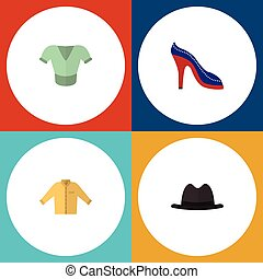 Flat Icon Clothes Set Of Banyan, Heeled Shoe, Panama And Other Vector Objects. Also Includes Clothes, Sandal, Heeled Elements.