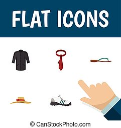 Flat Icon Clothes Set Of Beach Sandal, Sneakers, Elegant Headgear Vector Objects. Also Includes Uniform, Woman, Kimono Elements.