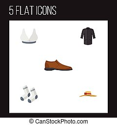 Flat Icon Clothes Set Of Brasserie, Foot Textile, Elegant Headgear And Other Vector Objects. Also Includes Shoe, Textile, Man Elements.