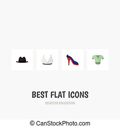 Flat Icon Clothes Set Of Heeled Shoe, Panama, Casual And Other Vector Objects. Also Includes Fedora, Sandal, Hat Elements.