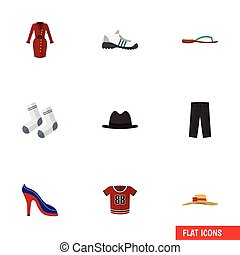 Flat Icon Clothes Set Of Panama, Elegant Headgear, Foot Textile And Other Vector Objects. Also Includes Blouse, Foot, Flip Elements.