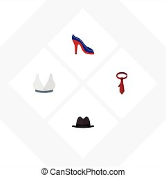 Flat Icon Clothes Set Of Panama, Heeled Shoe, Brasserie And Other Vector Objects. Also Includes Tie, Panama, Sport Elements.
