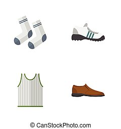 Flat Icon Clothes Set Of Singlet, Male Footware, Sneakers And Other Vector Objects. Also Includes Sneakers, Footware, Tank Elements.