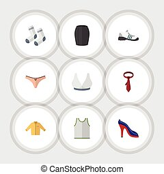 Flat Icon Clothes Set Of Stylish Apparel, Banyan, Brasserie And Other Vector Objects. Also Includes Shoes, Lingerie, Singlet Elements.